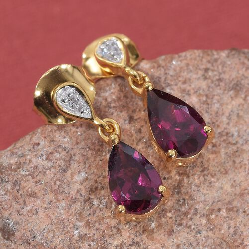 Rhodolite Garnet (Pear), Natural Cambodian Zircon Drop Earrings (with Push Back) in 14K Gold Overlay Sterling Silver 2.00 Ct.