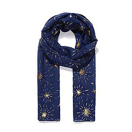 Brand New Scarves - Blue Metallic Firework Printed Scarf- 180x70cm