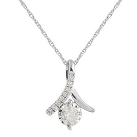 0.25 Carat Diamond (I3/G-H) Pendant with Chain in 9K White Gold 18 Inch