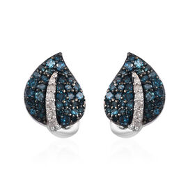 GP White and Blue Diamond (Rnd), Blue Sapphire Leaf Earrings (with Push Back) in Platinum and Blue O