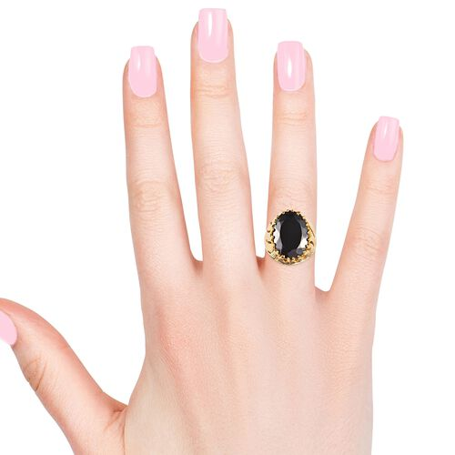 Elite Shungite (Ovl 18x13 mm) Solitaire Ring in 14K Gold Overlay Sterling Silver 7.00 Ct, Silver wt 8.10 Gms