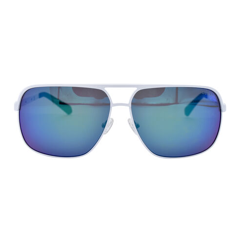 white metal aviator with blue lenses