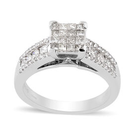 9K White Gold Natural White Diamond Ring 1.00 ct, Gold Wt. 6.40 Gms