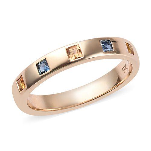 Madagascar Blue Sapphire (0.15 Ct),Sri LankanYellow Sapphire,Orange Sapphire 9K Y Gold Ring  0.370