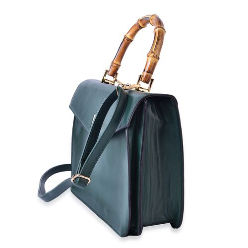 Bamboo Top Handle Green Colour Tote Bag with External Zipper Pocket and Adjustable and Removable Shoulder Strap (Size 30x24x12 Cm)