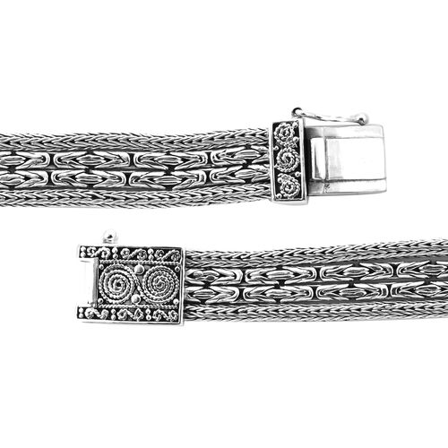 Royal Bali Collection - EON 1962 Swiss Movement Water Resistant 4 Row Tulang Naga and Borobudur Bracelet Watch (Size 7.25) in Sterling Silver, Silver wt 38.00 Gms