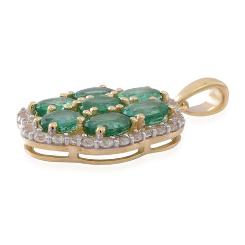 9K Yellow Gold AAA Kagem Zambian Emerald (Ovl), Natural White Cambodian Zircon Pendant 2.750 Ct.