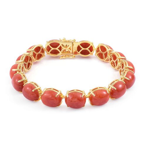 Burmese Red Jade (Ovl) Bracelet (Size 7.75) and Stud Earrings (with Push Back) in Platinum Overlay Sterling Silver 104.500 Ct.