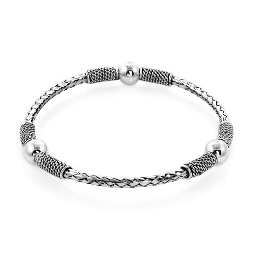 One Time CLose Out Deal  - Sterling Silver Woven Cuff Bangle (Size 7.5), Silver wt 20.81 Gms
