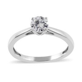 9K White Gold   White Diamond  Ring 0.52 ct,  Gold Wt. 1.9 Gms  0.519  Ct.
