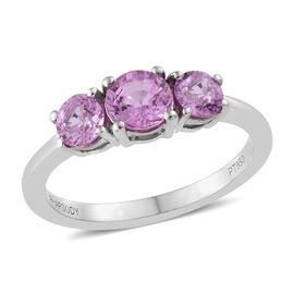Limited Edition- RHAPSODY 950 Platinum AAAA Ilakaka Pink Sapphire (Rnd) Trilogy Ring 1.250 Ct