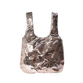 Light Golden and Silver Sequin Shopping Bag with Magnetic Closure (Size 40x33.5 Cm)
