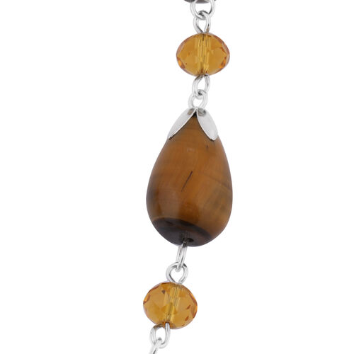 Yellow Tigers Eye and Simulated Champagne Quartz Necklace (Size - 18 + 2 inch Extender) in Silver Tone