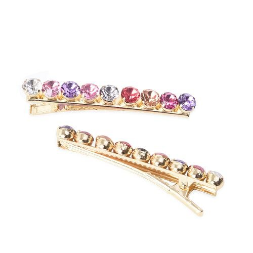Set of 4 - Multicolour Austrian Crystal Hair Clips with Gift Box in Gold Tone (Size 6 Cm)