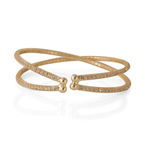 Austrian Crystal Criss Cross Bangle (Size 7.5) in Gold Bond