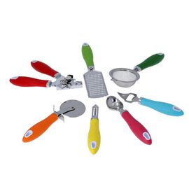 Set of 8 - Stainless Steel Kitchen Utensils (Includes Opener, Peeler, Tea Strainer, Bottle Opener, I