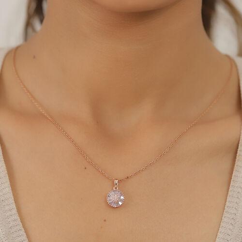 9K Rose Gold Pink Diamond Floral Cluster Pendant 0.50 Ct.