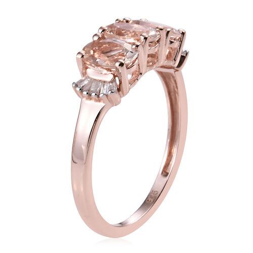 Marropino Morganite (Ovl), Diamond Ring in Rose Gold Overlay Sterling Silver 1.25 Ct.