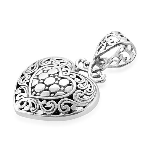 Royal Bali Collection Sterling Silver Heart Pendant, Silver wt 3.25 Gms.