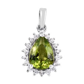 Hebei Peridot (Pear), Natural Cambodian Zircon Pendant in Platinum Overlay Sterling Silver 2.00 Ct.