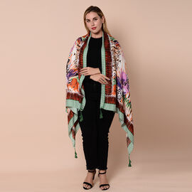Close Out Fashion Scarf  / Sarong  in Wing Pattern (Size 180x90cm) with Tassels - Purple, Green and