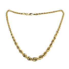 JCK Vegas Collection - 9K Yellow Gold Rope Graduated Necklace (Size 21), Gold wt 9.40 Gms