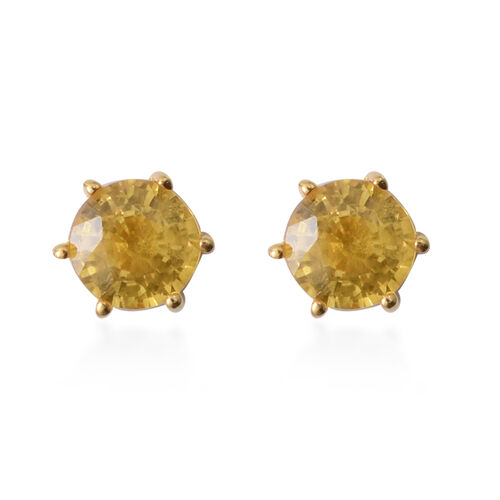 1.20 Ct Chanthaburi Yellow Sapphire Stud Earrings in Gold Plated Silver
