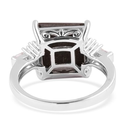 AA Canadian Ammolite (Sqr 12mm), White Topaz Ring in Rhodium Overlay Sterling Silver.