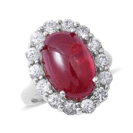 Extremely Rare Size African Ruby (Ovl 15x10 mm), Natural Cambodian Zircon Ring (Size N) in Rhodium Overlay St