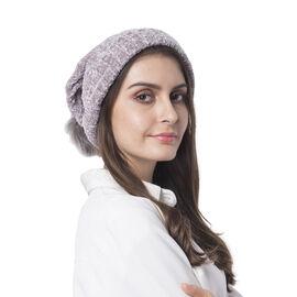 Super Soft Beanie Hat with Faux Fur Pom Pom (One size: 50x31cm) - Grey