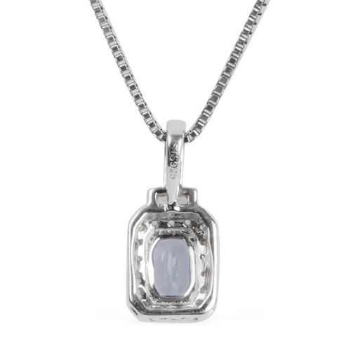 Tanzanite (Oct), White Topaz Pendant with Chain in Rhodium Plated Silver 0.709 Ct.