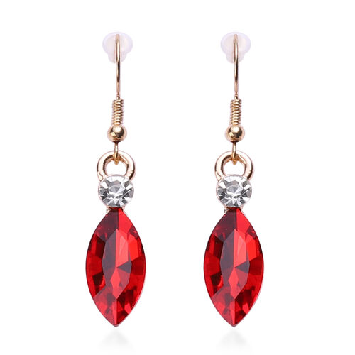 2 Piece Set - Simulated Ruby and White Austrian Crystal Necklace and Hook Earrings in Yellow Gold Tone