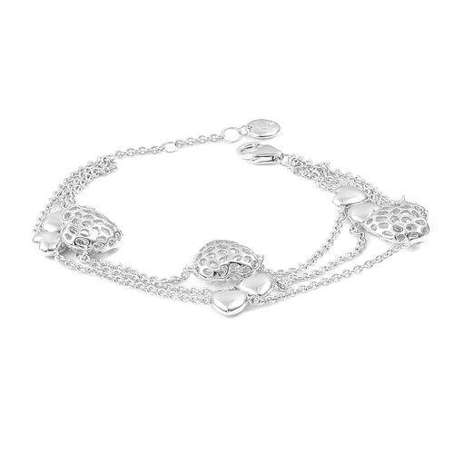 RACHEL GALLEY Rhodium Plated Sterling Silver Triple Strand Lattice Heart Bracelet (Size 8), Silver w