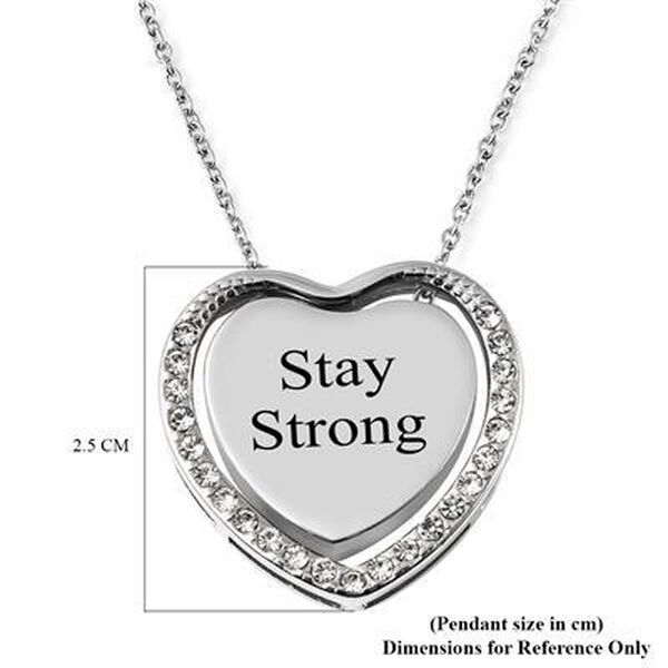 """Personalised Engravable Heart and Crystal  Necklace, Size 18"""" Iin silver tone"""