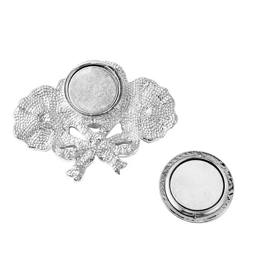 TJC Poppy Design White Austrian Crystal (Rnd) Enamelled Poppy Flower Magnetic Brooch in Silver Tone
