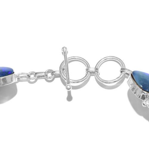 One Off A Kind- Australian Boulder Opal Rock Bracelet (Size 7.5) in Sterling Silver 179.250 Ct. Silver wt 14.00 Gms.
