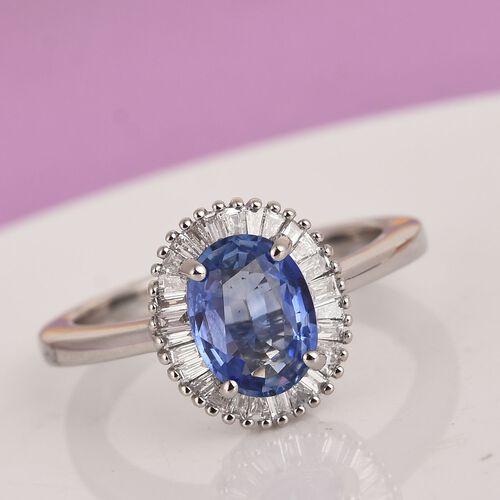 RHAPSODY 950 Platinum AAAA Royal Ceylon Sapphire and Diamond (VS/E-F) Halo Ring 1.75 Ct, Platinum wt 6.10 Gms