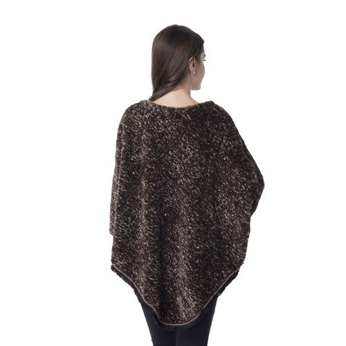 Brown Colour Faux Fur Poncho (Size 82x75 Cm)