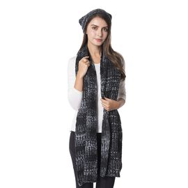 2 Piece Set - Hat (Size 28 Cm) and Scarf (Size 180x28 Cm) Grey, white and Black Colour