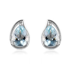 Espirito Santo Aquamarine (Pear 7x5mm) Stud Earrings (with Push Back) in Platinum Overlay Sterling S