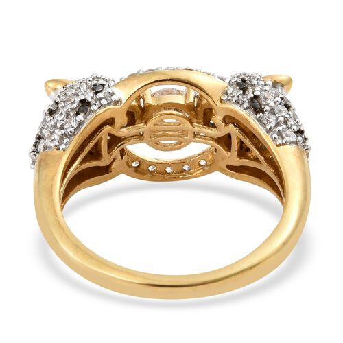 J Francis - 14K Gold Overlay Sterling Silver (Rnd) Leopard Ring Made with SWAROVSKI ZIRCONIA. Silver wt 6.80 Gms. Number of Swarovski 123.