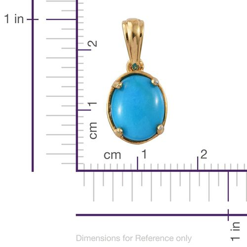 Arizona Sleeping Beauty Turquoise (Ovl) Solitaire Pendant in 14K Gold Overlay Sterling Silver 2.000 Ct.