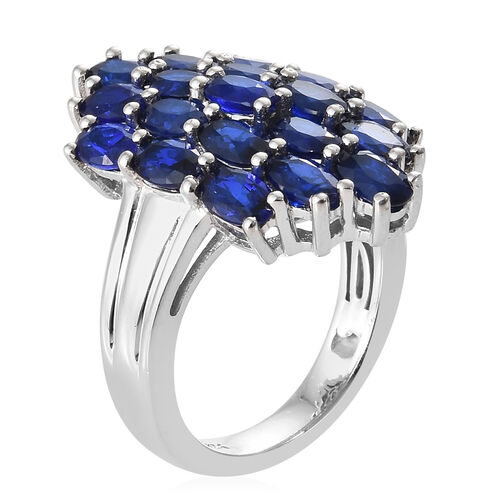 Blue Spinel (Ovl) Ring in Platinum Overlay Sterling Silver  4.750 Ct, Silver wt 5.00 Gms.