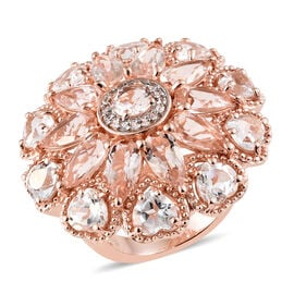 Limited Edition - Maroppino Morganite (Pear), White Topaz Cluster Ring (Size S) in Vermeil Rose Gold Overlay