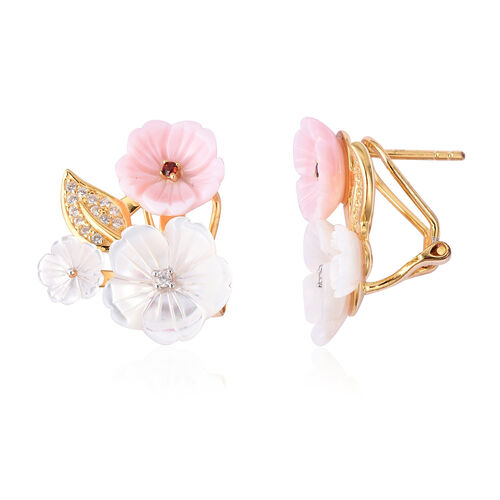 Jardin Collection White Mother of Pearl and Multi Gemstone Floral Earrings in Gold Plated Silver