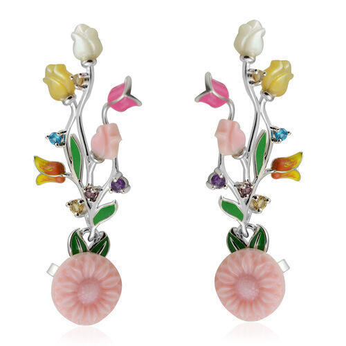 Jardin Collection - Pink Mother of Pearl, Citrine and Multi Gemstone Enamelled Floral Dangle Earring