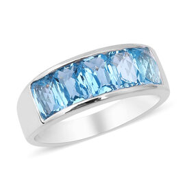3.65 Ct Swiss Blue Topaz 5 Stone Band Ring in Rhodium Plated Silver 4.30 Grams