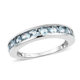 9K White Gold AA Santa Maria Aquamarine (Rnd) Half Eternity Band Ring 1.500 Ct.