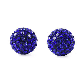 Blue Austrian Crystal (Rnd) Stud Earrings (with Push Back) in Stainless Steel