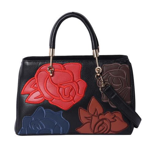 100% Genuine Leather Flower Patterned Handbag with Adjustable Shoulder Starp (30x12x19cm) - Black an